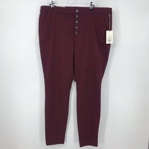 A New Day High Rise Skinny Burgundy Button Fly